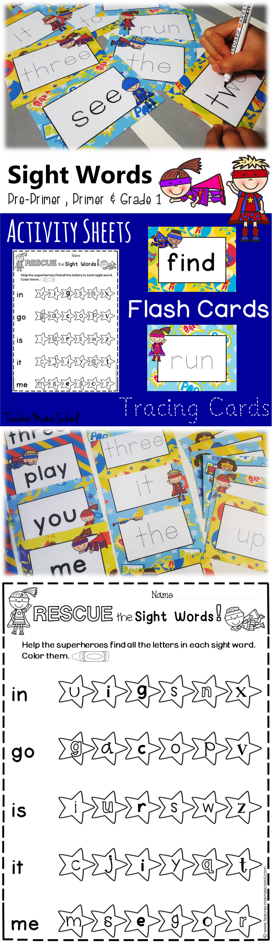 Sight Words Activity Sheet Flash Cards Tracing Cards : Superhero Theme